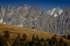 House in the mountains. Upper Svaneti. the main Kavkaz ridge. Ge royalty free stock images