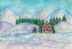 House in mountains in winter Royalty Free Stock Images
