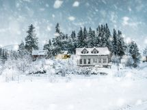 House in the mountains in winter. Norway, Bergen royalty free stock photo