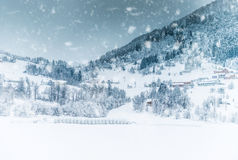 House in the mountains on winter Royalty Free Stock Photo