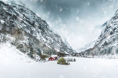 House in the mountains on winter Royalty Free Stock Photography