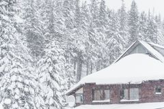 House in the mountains. winter snow forest House stock photos