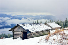 House in mountains. Woden house in Ukrainian Carpathians Royalty Free Stock Photos