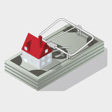 House and mousetrap. House and money mousetrap isometric vector Stock Images