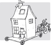 House move. Tractor pulling house along on trolley vector illustration