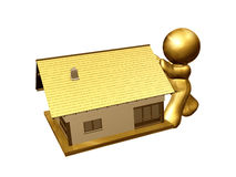 House moving. Icon figure pushing to move the house Stock Image