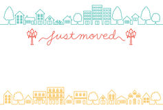 House-moving greeting card. Stock Photos