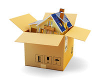 House moving, packaging during relocation, delivery and real estate concept. Cardboard box with modern cottage inside on white background Stock Image