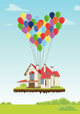 House with multicolored balloons in form of heart flying in sky over ground. House with multicolored balloons in the form of heart flying in sky over ground stock illustration