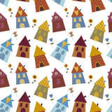 House multicolour pattern. Multicolour pattern funny children's wallpapers Stock Photo