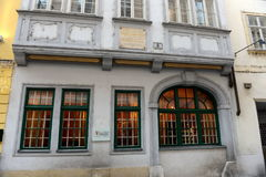 The house-Museum of composer Mozart on the street Domgasse of Vienna. VIENNA, AUSTRIA - NOVEMBER 30, 2012: The house-Museum of composer Mozart on the street royalty free stock image