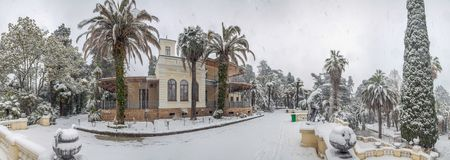 SOCHI, RUSSIA - JANUARY 29, 2017: 2017: Arboretum - the villa Nadezhda. The house-museum Nadezhda, where once lived S.N. Khudekov with his family. The dacha was Royalty Free Stock Photography