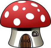 House, Mushroom, Red, White, Shape Stock Photo