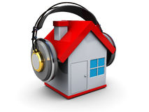 House music. Abstract 3d illustration of house with headphones Royalty Free Stock Photography