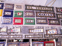 House name plaques on Market in Nerja on the Eastern End of the Costa del Sol in Spain Stock Photography