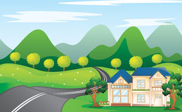 House in nature. Illustration of a houses in beautiful nature Stock Photos