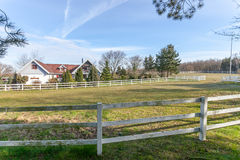 House nd horse paddock Royalty Free Stock Photos