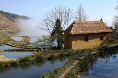 House near the Hani terrace paddyfield Stock Photo