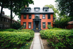 House near Harvard Square in Cambridge, Massachusetts. Royalty Free Stock Images