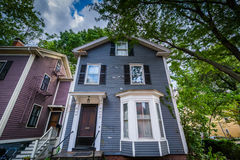 House near Harvard University, in Cambridge, Massachusetts. Royalty Free Stock Image