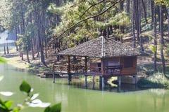 House near lake and pine trees Stock Photo