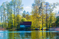 House near lake Stock Photography