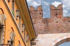 House near medieval city gate. Verona, Italy Royalty Free Stock Photo