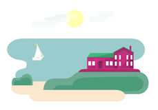 House Near Ocean. Illustration of landscape with house near ocean with sun in the sky and cute sailboat. Traveling theme series. Flat style Stock Photography