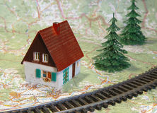 House near the railroad, travel Royalty Free Stock Photography