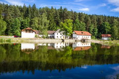 House near river. In Czech Republic Royalty Free Stock Image