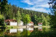House near river. In Czech Republic Stock Photo