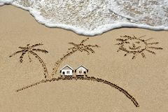 House near sea, beach, sun and palm trees Stock Photos