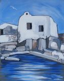 A house near the sea, in a Greek island. Acrylic original painting of a little white house near the blue sea Royalty Free Stock Photos