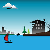 House near the water. Colorful illustration with boat sailing, ship silhouette and house built near a river Royalty Free Stock Photo