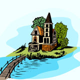 House near the water Royalty Free Stock Photos