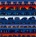 House neighborhood background. House cityscape at different time of the day, real estate background Royalty Free Stock Images