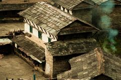 House in a Nepalese village. Traditional Nepalese house, trekking to the Annapurna. House in a Nepalese village.Traditional Nepalese house, trekking to the royalty free stock photos