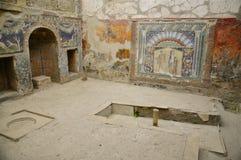 House of Neptunus, Herculaneum. Frescoes inside the House of Neptune. Herculaneum was buried in the eruption of Mount Vesuvius in AD 79. Unlike Pompeii, the Stock Images