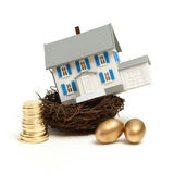 House In a Nest. A model house rests in a nest with gold coins and eggs for many investment concepts Royalty Free Stock Images