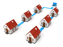 House Network with laptop Royalty Free Stock Photography