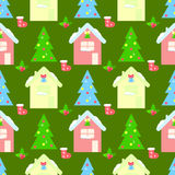 HOUSE new year seamless  pattern, bell, Stock Photo
