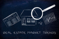 House, news & stats with magnifying glass; real estate market ne Stock Photos