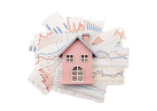 House on newspaper charts stock photos