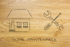 House next to wrench and screwdriver icon, diy projects Stock Photography