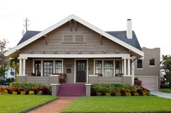 House with nice landscaping Stock Images