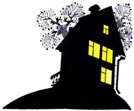 The house at night. Illustration, figure, the house, night, light in a window, the house at night, cartoon Stock Photography