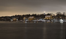 House at night in the cape of Djurgården outside Stockholm Royalty Free Stock Photography