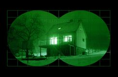 House during night through night vision Royalty Free Stock Photo