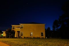 House and star. House at night and star, taken in Tampa Stock Photography
