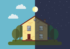 House in nighttime and daytime Stock Image
